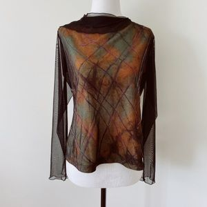 TRIBAL Large Abstract long transparent sleeves Blouse
